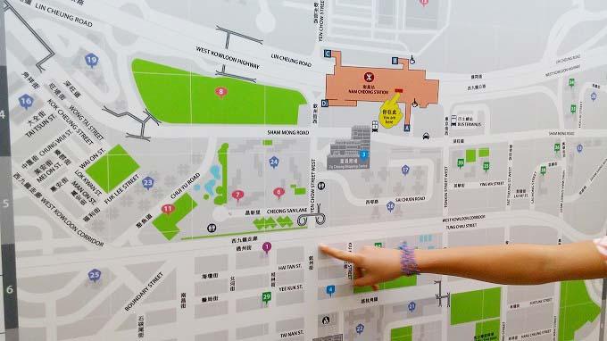 香港 九龍 オヴォロホテルへ 南昌駅 地図