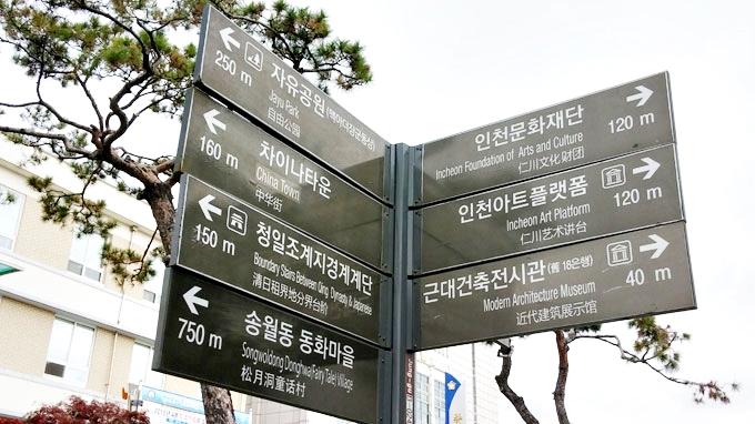 韓国 仁川旧日本人街 歴史文化通り サインボード