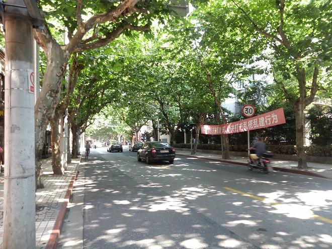 中国 上海外国語大学の東側の道路。