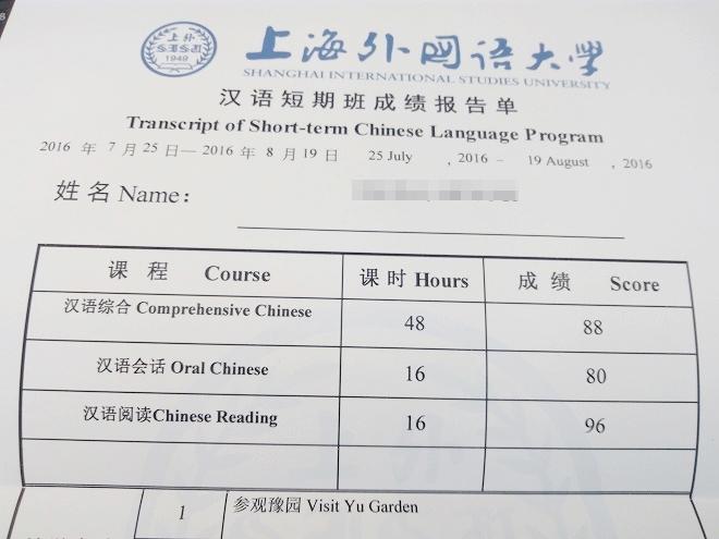 中国 上海外国語大学留学。虹口。僕の修了時の成績表。
