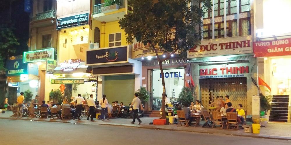 ベトナム・ホーチミン市。ミフキ・ブティック・ホテル周辺の夜