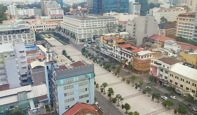 ベトナム・ホーチミン市。グエンフエ通り。