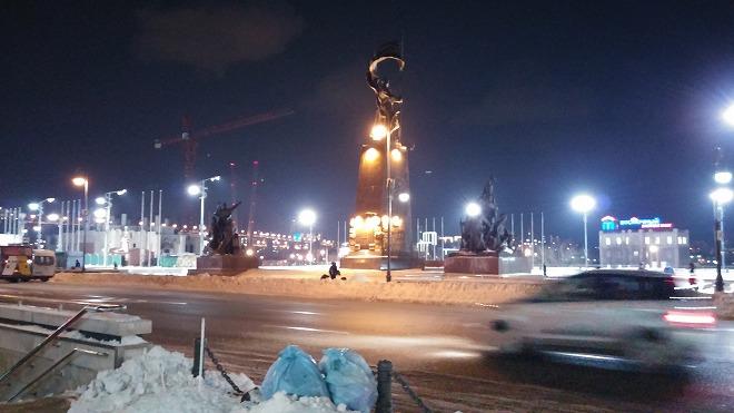 ロシア 夜のウラジオストク中央広場/別名 革命戦士広場。夜のウラジオストク
