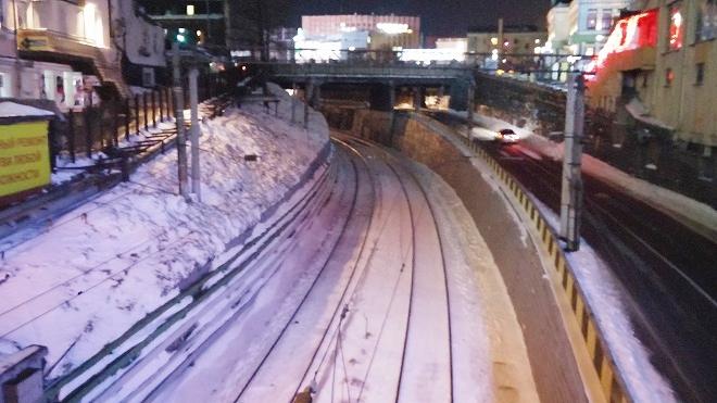 ロシア 夜のウラジオストク シベリア鉄道の線路