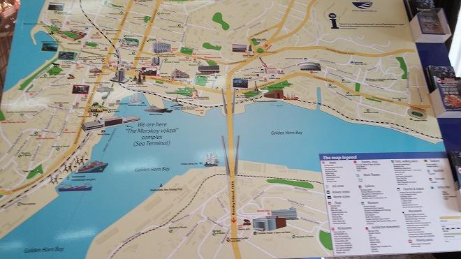 ロシア・ウラジオストク港フェリー旅客ターミナル 周辺マップ。