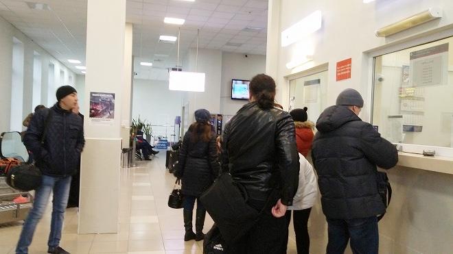 ロシア・ウラジオストク。アエロエクスプレス駅のチケット売り場
