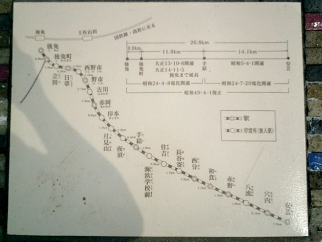 高知県安芸市 鉄道「後免~安芸線」の路線図