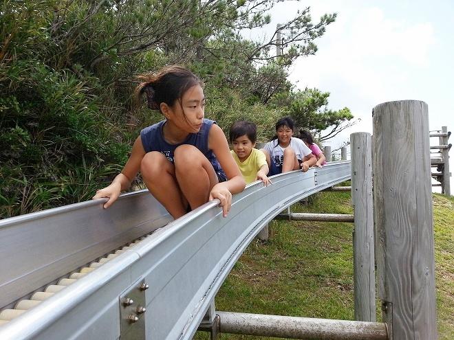 「照山森林公園のローラーの滑り台」渡嘉敷島