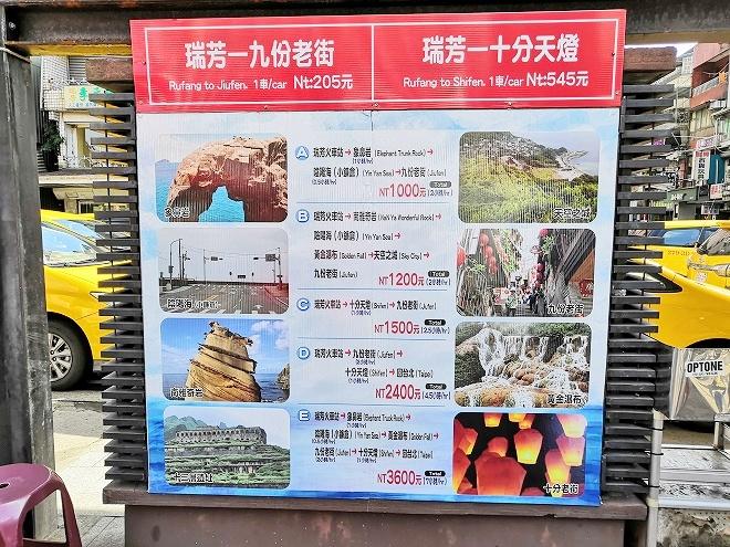 台湾 瑞芳から九份と十分へのタクシー料金の案内看板