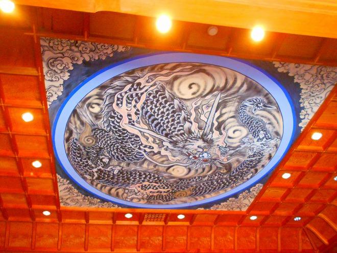 首里 西来院(達磨寺)二階 本堂 天井に龍