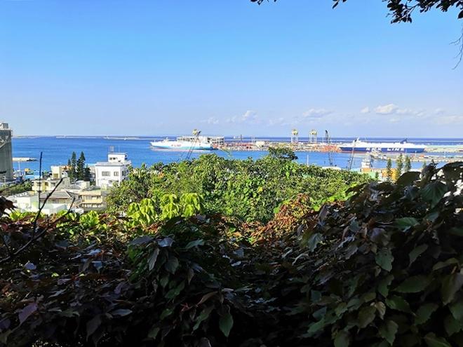 医療法人おもと会 大浜第一病院「かりゆしの庭」からの那覇港の景色