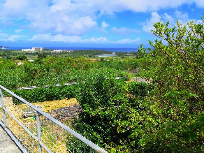 沖縄県金武町 並松そば 駐車場から見える金武湾