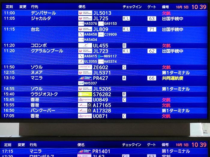 成田国際空港 第2ターミナル3階のフライトボード