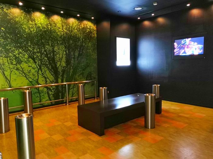 コロナ禍の成田国際空港 第2ターミナル4階レストランとショップのフロアの喫煙室