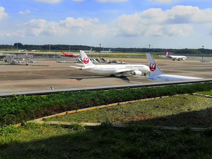 成田国際空港 第2ターミナル 4階 から見たJAL機